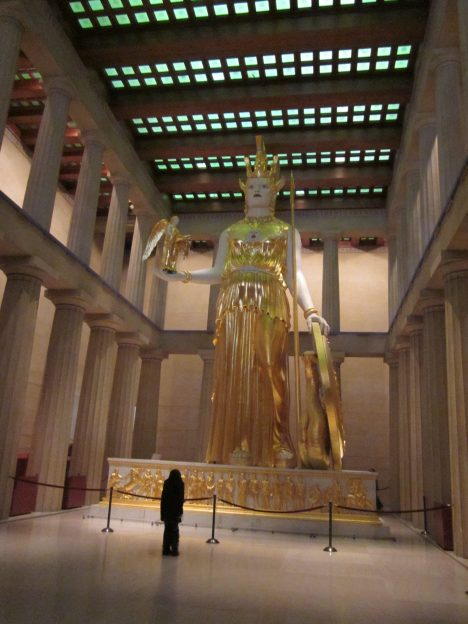 the statue of Athena. they are careful to explain that the gaudy face paint and gold leaf is believed to be historically accurate.