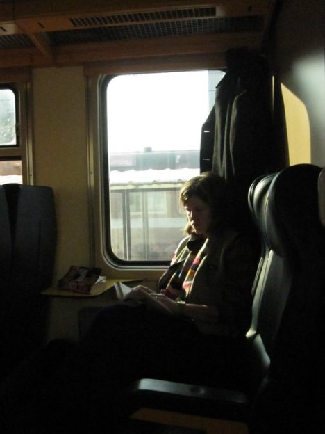 on a train
