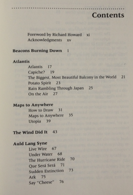 first page of table of contents